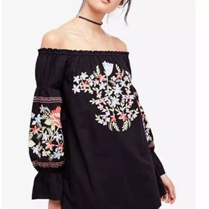 Free People Fleur Du Jour Cotton Embroidered Mini